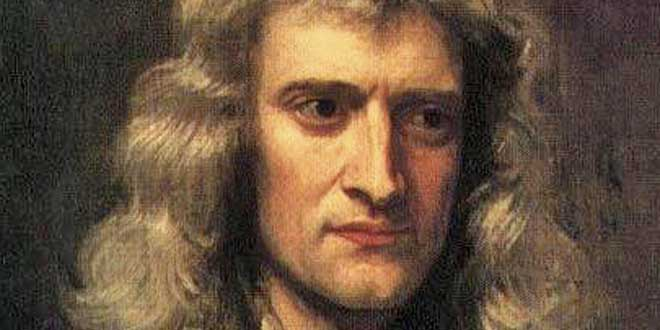 Detalle de retrato de Isaac Newton por Godfrey Kneller (1689)