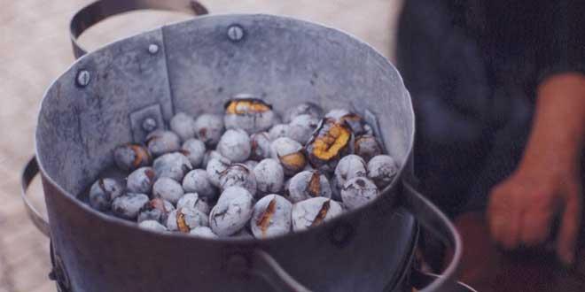 castañas cocinando