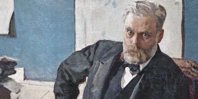 Detalle. Portrait of Alfred Nobel (1909). Valentin Serov .