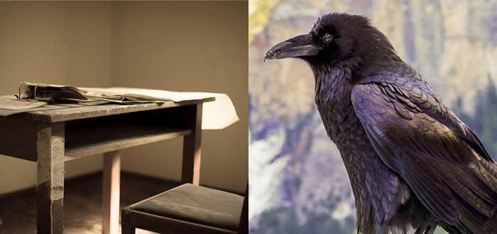 Sombrerero loco, mesa de escritorio, cuervo