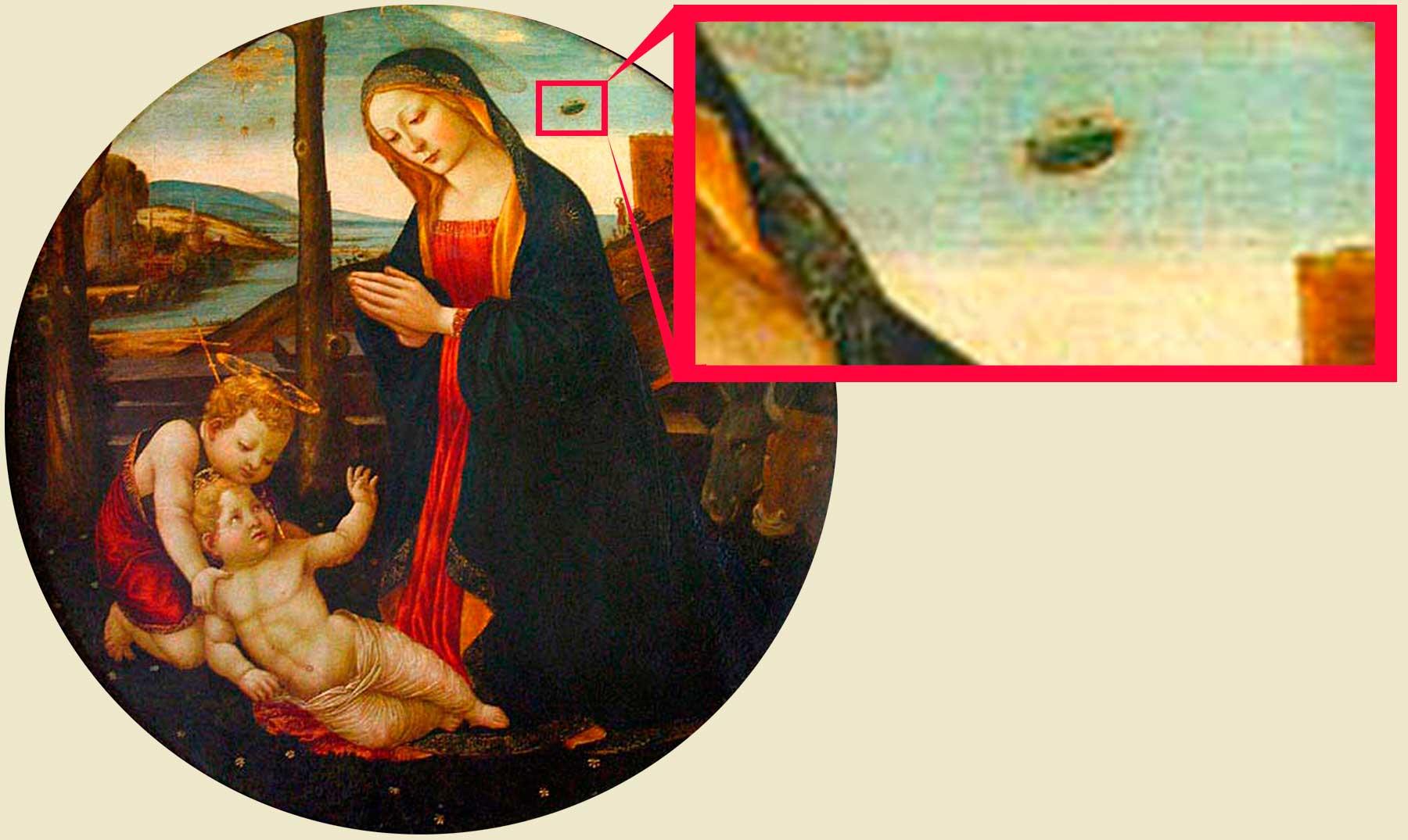 """El supuesto OVNI del cuadro """"La Madonna y San Juan"""""""