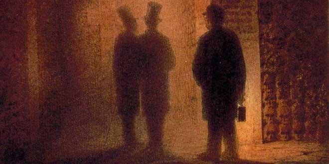 Detalle de Acuarela de Víctor Hartmann, Catacumbas de París (s.XIX), se muestra a Hartmann, Vasily Kenel y a un guía sosteniendo una linterna.