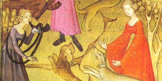 Detalle. Ilustración de un manuscrito de la época Medieval, Mujeres cazando
