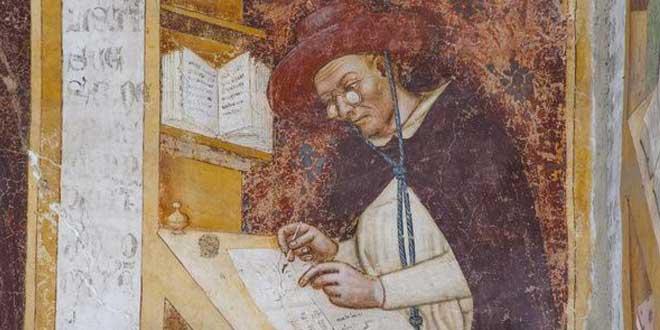 Detalle. Hugo de Provenza - primer retrato de una persona con gafas (1351-1352), Tommaso da Modena, Basílica de San Niccoló, Treviso, Italia
