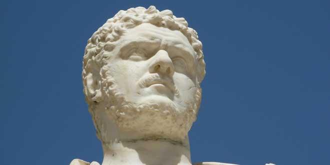 Detalle. Busto de Marcus Aurelius Severus Antoninus Augustus, Emperador Caracalla. Real Casa del Labrador de Aranjuez, Madrid, España