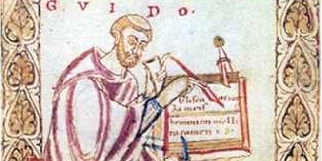 Detalle de ilustración medieval de Guido de Arezzo