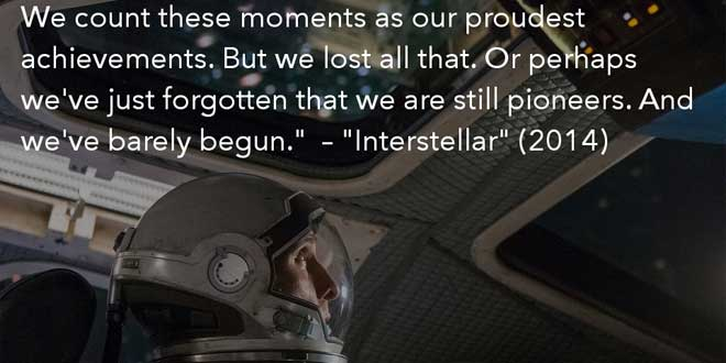 "Cita de ""Interstellar"" (2014), dirgida por Christopher Nolan"