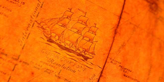Ilustración del barco del Capitán James Cook