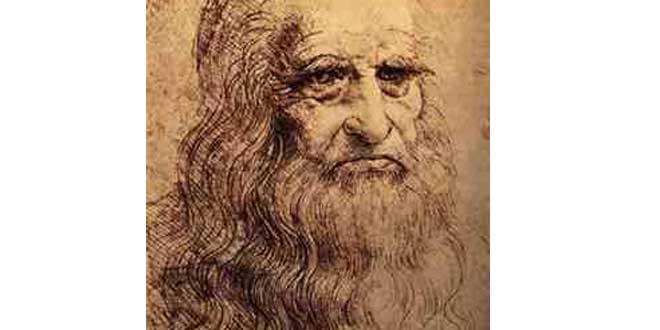 Leonardo Da Vinci, Autorretrato (1513), Sanguine (tiza roja), Turin, Biblioteca Reale.