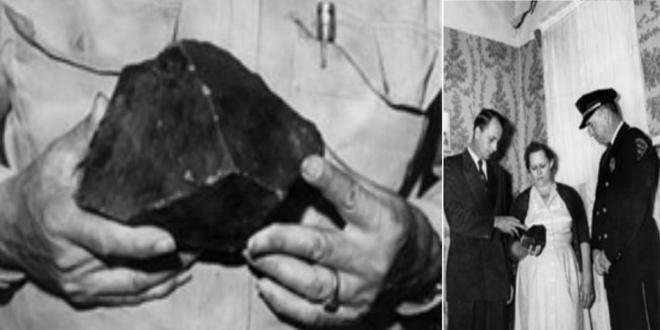 El meteorito de 3,75 libras (casi 2 kilos) y la señor Hodges junto a las autoridades
