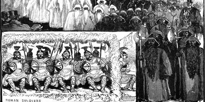"""Detalle de Ilustración """"Los druidas en Lunes de Pascua"""". Mayo, 1884"""