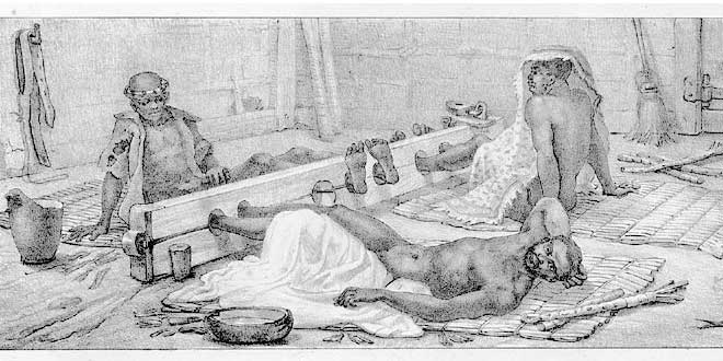 Detalle. Ilustración de esclavos mostrados a los compradores como si fueran ganado (1830), Brasil