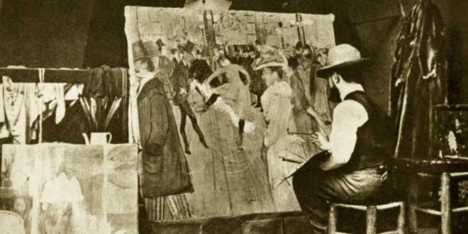 Henri de Toulouse-Lautrec pintando el Moulin Rouge, 1890