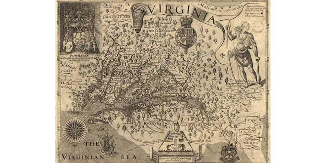 Mapa de Virginia de John Smith, ca. 1609.