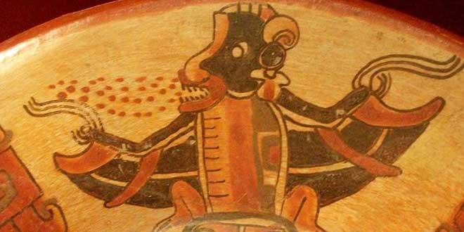 Detalle de plato  de murciélagos, personajes del inframundo perteneciente a la Cultura maya. Per. Clásico (320 - 987 d. C.).