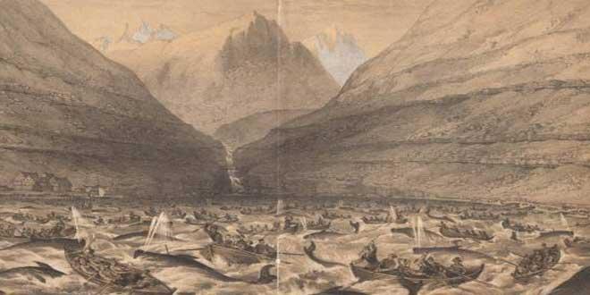 Cazando ballenas en las Islas Faroe (1854)