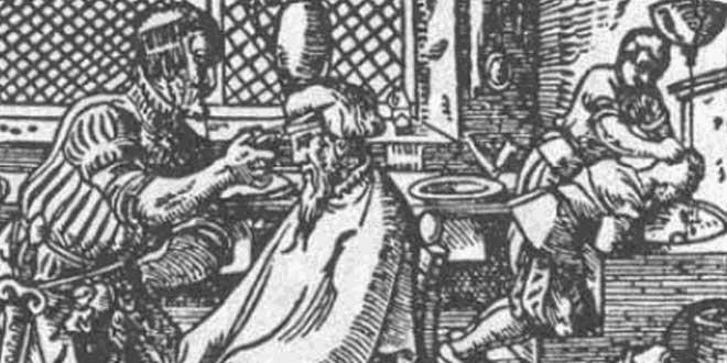 Detalle. Ilustración de un barbero en el siglo XVI