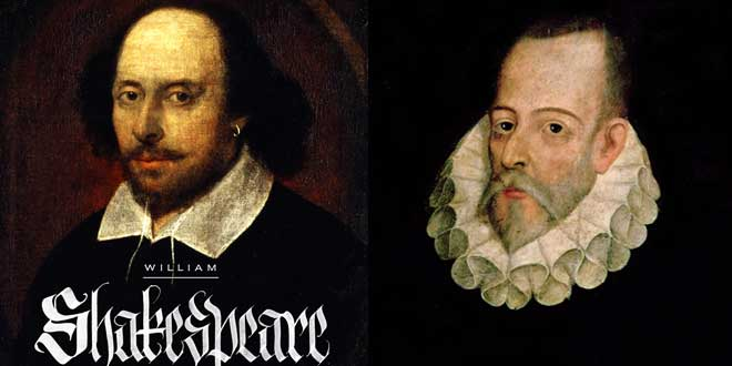 Fotomontaje: William Shakespeare y Miguel de Cervantes