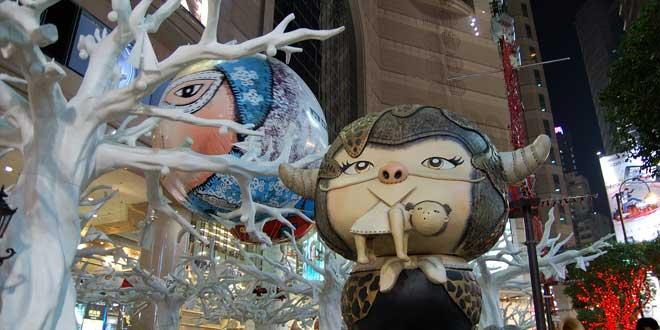 Decoración navideña en Hong Kong