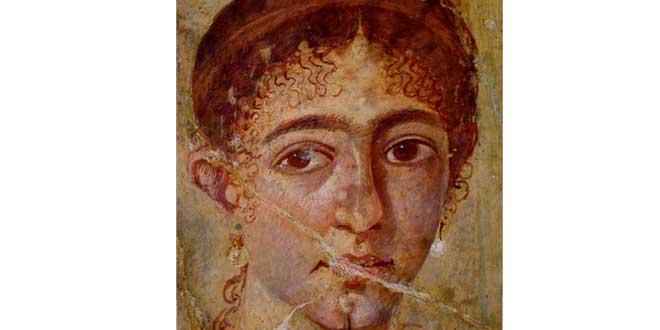 Fresco de Pompeya (Italia), mujer cejijunta, tratamientos estéticos de la antigüedad