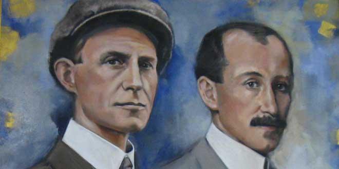 Detalle. Retrato de los hermanos Wright en su Memorial Nacional en  Kill Devil Hills, Carolina del Norte, E.E.U.U.