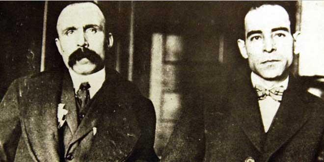 Detalle de fotografía de B. Vanzetti (izq.)  y N. Sacco (der.) Dedham, Massachusetts Superior Court, 1923.