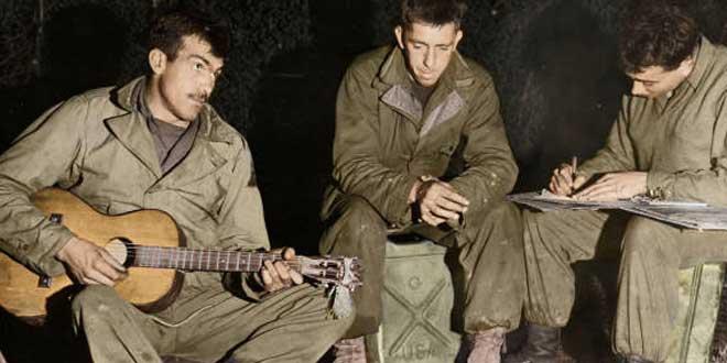 Detalle. Soldados americanos,  Battle of the Bulge 1944. Fotografía recoloreada con Photoshop