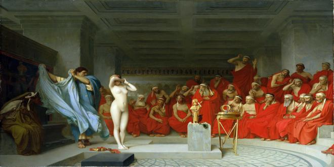 """Friné ante el areópago"" del pintor francés Jean-Léon Gérôme (1824-1904)"