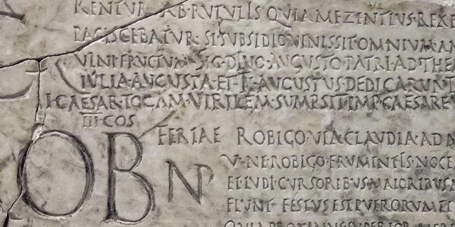 Fragmento de un calendario romano, de Verrio Flacco de Pranestes, en el Museo Nacional de Roma