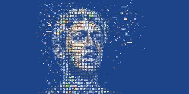 Mosaico con elementos de Facbeook formando la cara de Mark Zuckerberg, portada de la WIRED magazine