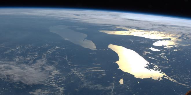 la tierra, satélite, lago michigan