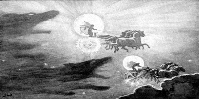 El Sol y la Luna, perseguidos por los lobos Sköll y Hati