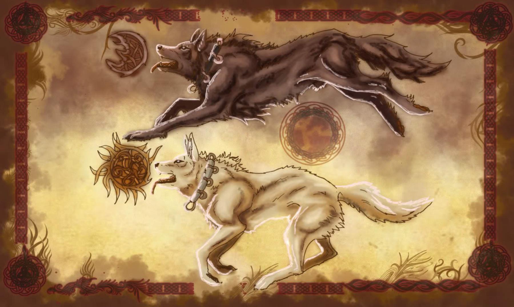 La leyenda nórdica de Sköll y Hati
