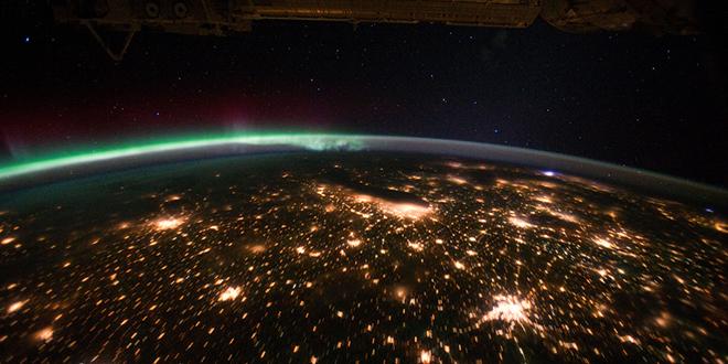 Una aurora boreal capturada fotográficamente desde el espacio