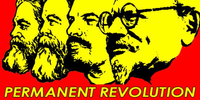 """""""Revolución permanente"""", famoso cartel que retrata a Karl Marx, Federico Engels, Vladimir Lenin y León Trotsky"""