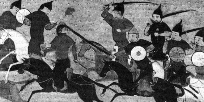 "Detalle de ""Batalla de mongoles"", de Morris Rossabi, 1988"