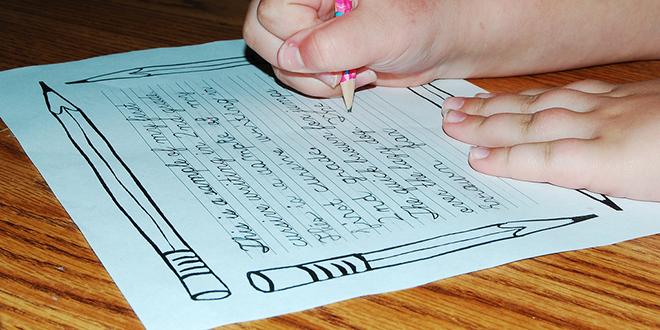 escritura infantil a mano