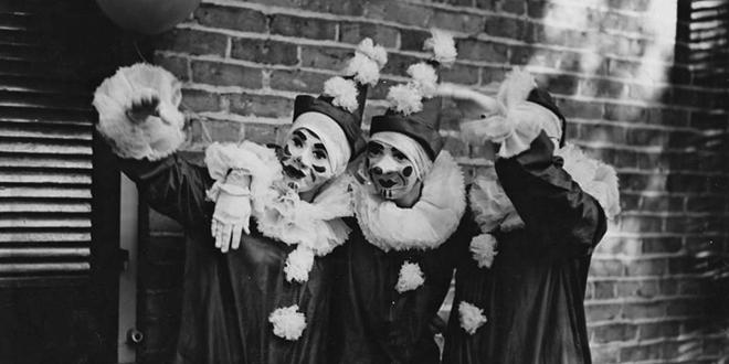 Disfraces de payasos en el Mardi Gras de 1936
