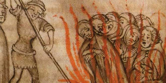 Ilustración de la quema de templarios (1384, autor desconocido)