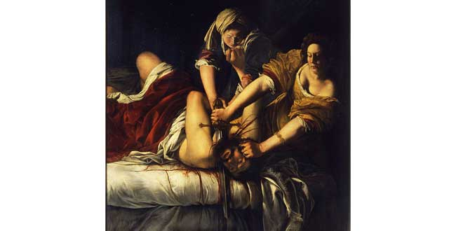 Judit decapitando a Holofernes (Artemisia Gentileschi, 1614-20).