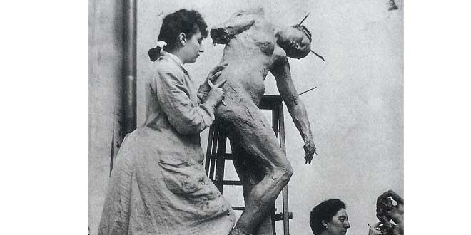 Camille Claudel y Jessie Lipscomb en el taller de Rodin, 1899