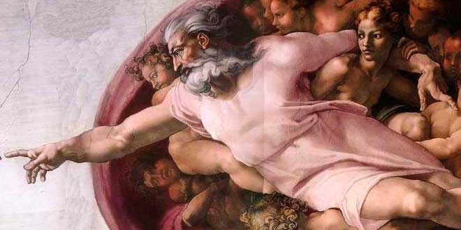 Fragmento de La Creación de Adán (Miguel Ángel, 1511)