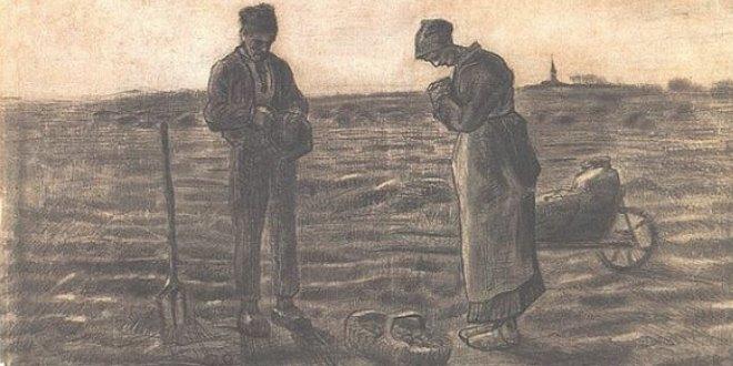 Dibujo del Angelus de Millet de Van Gogh