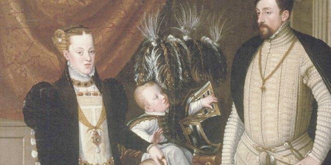 """Fragmento del cuadro """"Maximiliano II, su esposa y 3 hijos"""" de Arcimboldo, 1563"""
