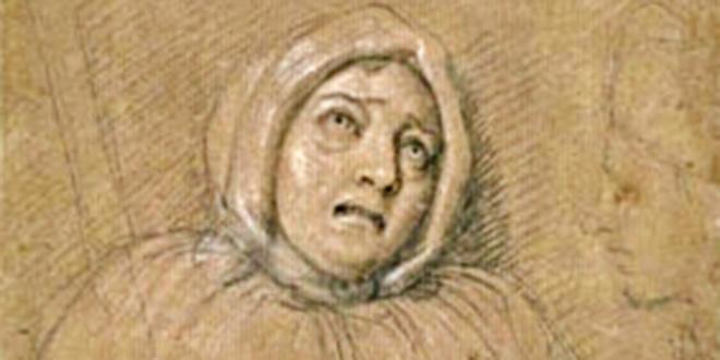 Retrato de Marie Madeleine de Brinvilliers, el día de su ejecución en 1676, hecho por Charles Le Brun