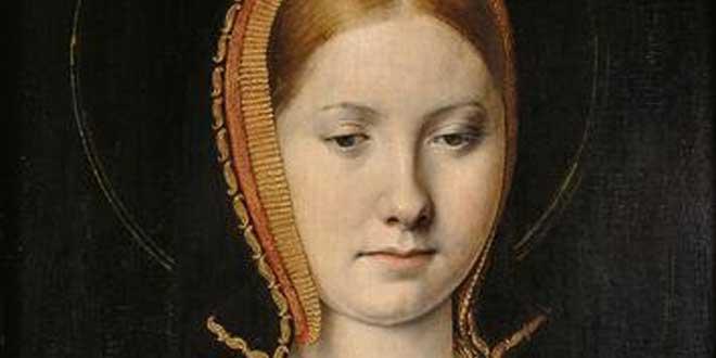 Detalle. Retrato (supuestamente de) Catalina de Aragón, hacia 1502, por Michael Sittow