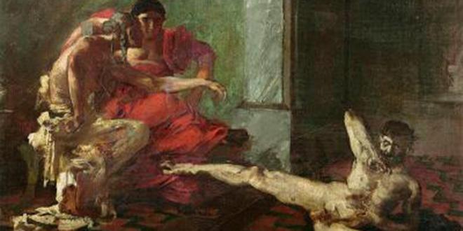 """Detalle del cuadro """"Locusta"""" de Joseph-Noël Sylvestre, 1876, en una escena probando un veneno en un esclavo, junto a Nerón"""