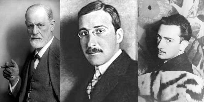 De izquierda a derecha: Zweig, Freud y Dalí