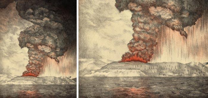 Krakatoa, erupción, litografía