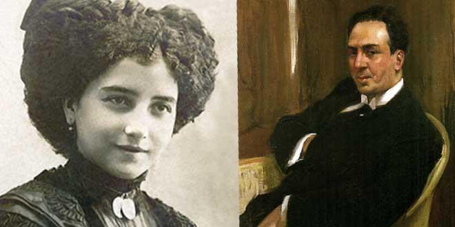 Leonor Izquierdo (30 de julio de 1909) y Antonio Machado (Joaquín Sorolla, 1917)